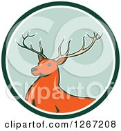 Clipart Of A Retro Buck Deer In A Green And White Circle Royalty Free Vector Illustration