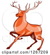 Clipart Of A Retro Styled Cartoon Of A Marching Deer Royalty Free Vector Illustration
