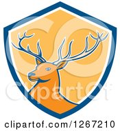 Clipart Of A Retro Buck Deer In A Blue White And Yellow Shield Royalty Free Vector Illustration by patrimonio