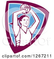 Clipart Of A Retro Female Volleyball Or Netball Player In A Purple White And Blue Shield Royalty Free Vector Illustration