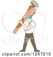 Clipart Of A Retro Cartoon Caucasian Male Plumber Holding A Monkey Wrench Royalty Free Vector Illustration