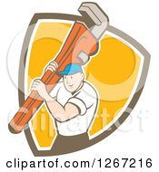 Clipart Of A Retro Cartoon Caucasian Male Plumber Holding A Monkey Wrench In A Brown White And Orange Shield Royalty Free Vector Illustration