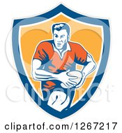 Clipart Of A Retro Male Rugby Player Running In A Gray Blue White Or Yellow Shield Royalty Free Vector Illustration