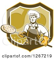 Clipart Of A Retro Male Chef With A Pizza On A Peel In A Yellow Brown White And Green Shield Royalty Free Vector Illustration