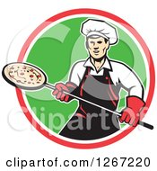 Clipart Of A Retro Male Chef With A Pizza On A Peel In A Red White And Green Circle Royalty Free Vector Illustration