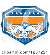 Clipart Of A Retro Bearded Muscular Male Bodybuilder Squatting With A Barbell In A Blue White And Orange Shield Royalty Free Vector Illustration