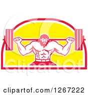 Clipart Of A Retro Bearded Muscular Male Bodybuilder Squatting With A Barbell In A Red White And Yellow Shield Royalty Free Vector Illustration