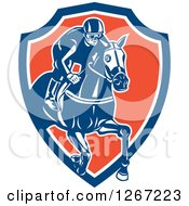 Clipart Of A Retro Racing Jockey In A Blue White And Orange Shield Royalty Free Vector Illustration