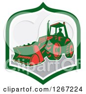 Clipart Of A Retro Man Operating An Excavator Machine In A Green White And Gray Shield Royalty Free Vector Illustration