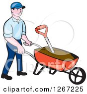 Clipart Of A Cartoon Caucasian Male Gardener Pushing A Wheelbarrow Of Soil Royalty Free Vector Illustration by patrimonio