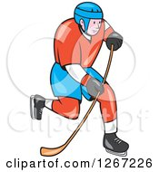 Clipart Of A Cartoon White Male Hockey Player Skating Royalty Free Vector Illustration by patrimonio