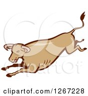 Clipart Of A Retro Cartoon Styled Running Brown Bull Royalty Free Vector Illustration