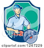 Cartoon White Male Construction Worker Holding A Concrete Saw In A Blue White And Turquoise Shield