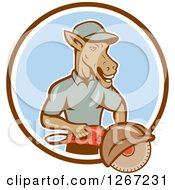 Clipart Of A Cartoon Donkey Man Woker Holding A Concrete Saw In A Brown White And Blue Circle Royalty Free Vector Illustration by patrimonio