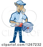 Clipart Of A Cartoon Donkey Man Woker Holding A Concrete Saw Royalty Free Vector Illustration by patrimonio