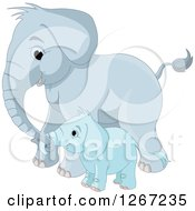 Clipart Of A Cute Blue Mother And Baby Elephant Royalty Free Vector Illustration
