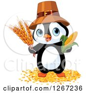 Clipart Of A Cute Thanksgiving Pilgrim Penguin With Harvest Wheat And Corn Royalty Free Vector Illustration