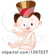 Clipart Of A Cute Caucasian New Year Baby Boy Sitting In A Top Hat And Waving Royalty Free Vector Illustration