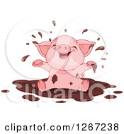 Clipart Of A Cute Baby Piglet Playing In A Mud Puddle Royalty Free Vector Illustration