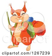 Clipart Of A Cute Squirrel Hiker With A Compass Royalty Free Vector Illustration