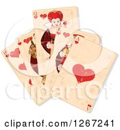 Clipart Of Distressed Heart Playing Cards Royalty Free Vector Illustration