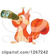 Clipart Of A Cute Squirrel Looking Through Binoculars Royalty Free Vector Illustration