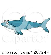 Clipart Of A Happy Swimming Blue Shark Royalty Free Vector Illustration