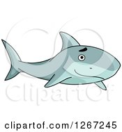 Clipart Of A Happy Swimming Shark Royalty Free Vector Illustration