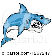 Clipart Of A Vicious Blue And White Shark Royalty Free Vector Illustration
