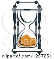 Clipart Of A Navy Blue And Orange Hourglass Royalty Free Vector Illustration