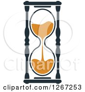 Clipart Of A Navy Blue And Orange Hourglass 2 Royalty Free Vector Illustration