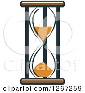 Clipart Of A Navy Blue Brown And Orange Hourglass Royalty Free Vector Illustration