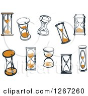 Clipart Of Navy Blue And Orange Hourglasses Royalty Free Vector Illustration