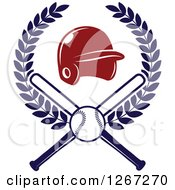 Clipart Of A Baseball And Crossed Bats With A Red Helmet In A Wreath Royalty Free Vector Illustration by Vector Tradition SM
