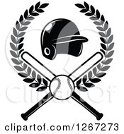 Clipart Of A Black And White Baseball And Crossed Bats With A Helmet In A Wreath Royalty Free Vector Illustration by Seamartini Graphics