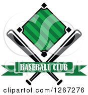 Clipart Of A Baseball Diamond Field With Crossed Bats And A Green Text Banner Royalty Free Vector Illustration