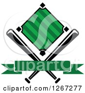 Clipart Of A Baseball Diamond Field With Crossed Bats And A Blank Green Banner Royalty Free Vector Illustration