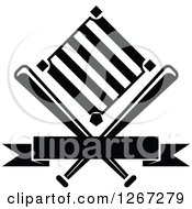 Clipart Of A Black And White Baseball Diamond Field With Crossed Bats And A Blank Banner Royalty Free Vector Illustration
