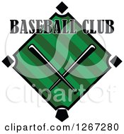 Clipart Of Text Over A Baseball Diamond Field With Crossed Bats Royalty Free Vector Illustration
