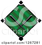 Clipart Of A Baseball Diamond Field With Crossed Bats Royalty Free Vector Illustration