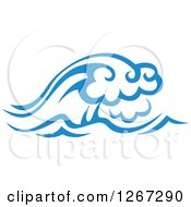 Clipart Of Blue Ocean Waves 5 Royalty Free Vector Illustration