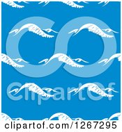 Clipart Of A Seamless Background Pattern Of White Waves Over Blue Royalty Free Vector Illustration
