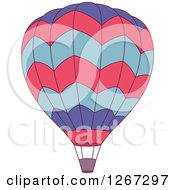 Clipart Of A Purple Pink And Blue Hot Air Balloon Royalty Free Vector Illustration
