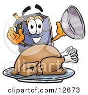Clipart Picture Of A Suitcase Cartoon Character Serving A Thanksgiving Turkey On A Platter