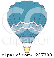 Clipart Of A Blue And White Hot Air Balloon Royalty Free Vector Illustration