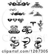 Clipart Of Black And White Snake Designs Royalty Free Vector Illustration by Vector Tradition SM