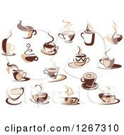 Clipart Of Two Toned Tan And Brown Steamy Coffee Cup Designs Royalty Free Vector Illustration