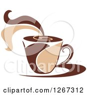 Clipart Of A Two Toned Tan And Brown Steamy Coffee Cup On A Saucer 4 Royalty Free Vector Illustration
