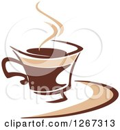 Clipart Of A Two Toned Tan And Brown Steamy Coffee Cup On A Saucer 5 Royalty Free Vector Illustration