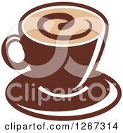 Clipart Of A Two Toned Tan And Brown Coffee Cup On A Saucer 1 Royalty Free Vector Illustration